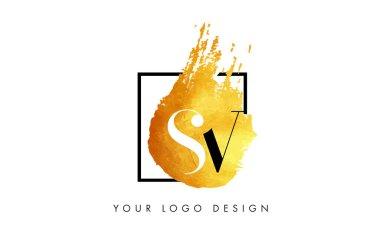SV Gold Letter Logo Painted Brush Texture Strokes.