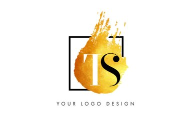 TS Gold Letter Logo Painted Brush Texture Strokes.
