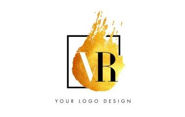 VR Gold Letter Logo Painted Brush Texture Strokes.