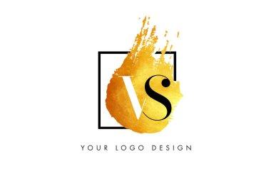 VS Gold Letter Logo Painted Brush Texture Strokes.