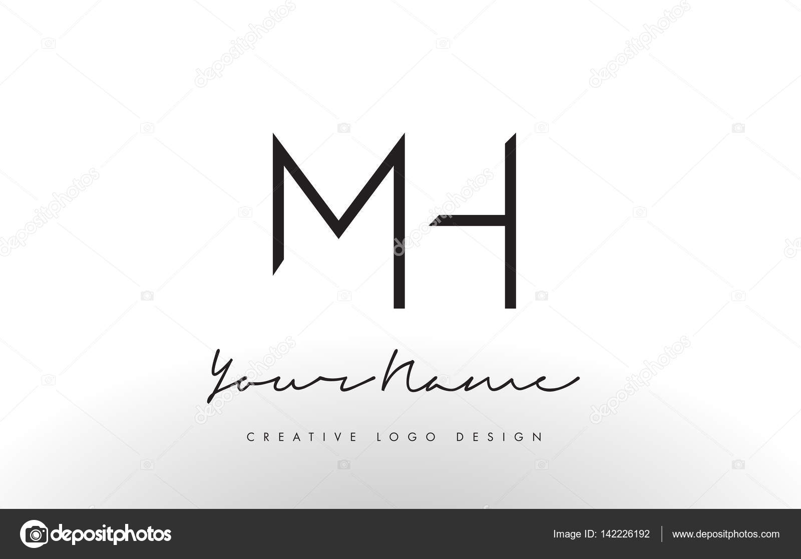 Simple Line Art Designs : Mh letters logo design slim. creative simple black letter concept