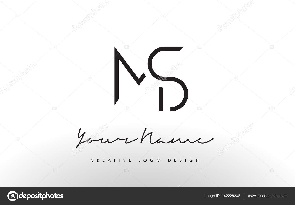 Ms Letters Logo Design Slim Creative Simple Black Letter