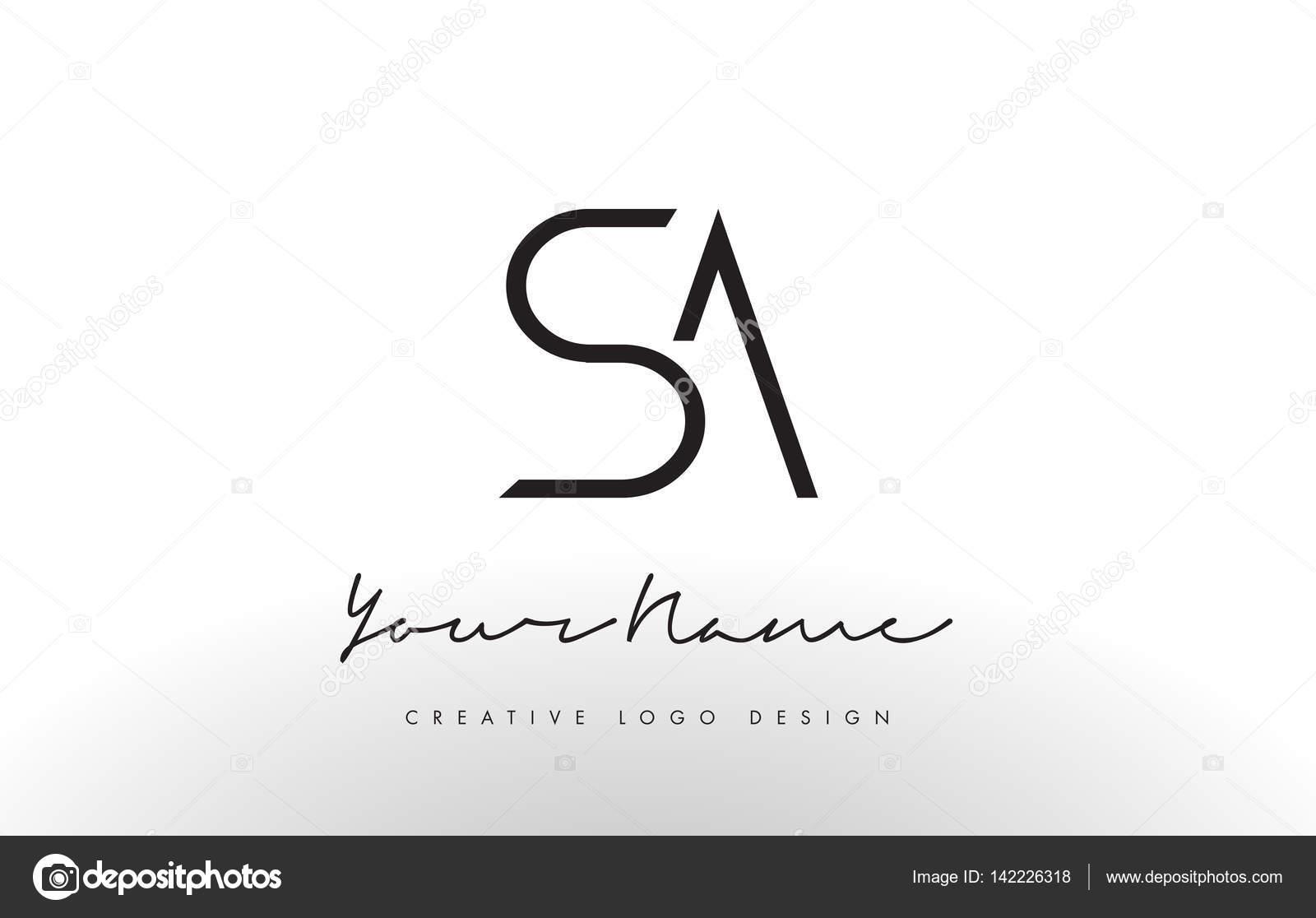 Sa Letters Logo Design Slim Creative Simple Black Letter