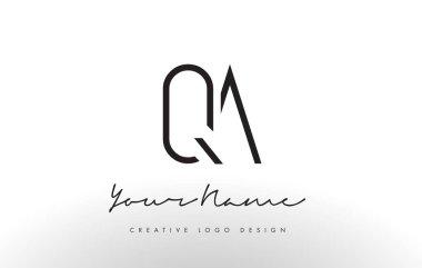 QA Letters Logo Design Slim. Creative Simple Black Letter Concept.