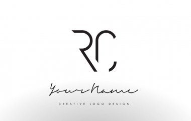 RC Letters Logo Design Slim. Creative Simple Black Letter Concept.
