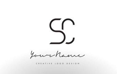 SC Letters Logo Design Slim. Creative Simple Black Letter Concept.