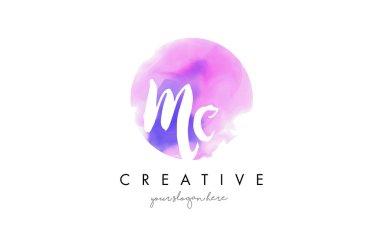 MC Watercolor Letter Logo Design with Purple Brush Stroke.