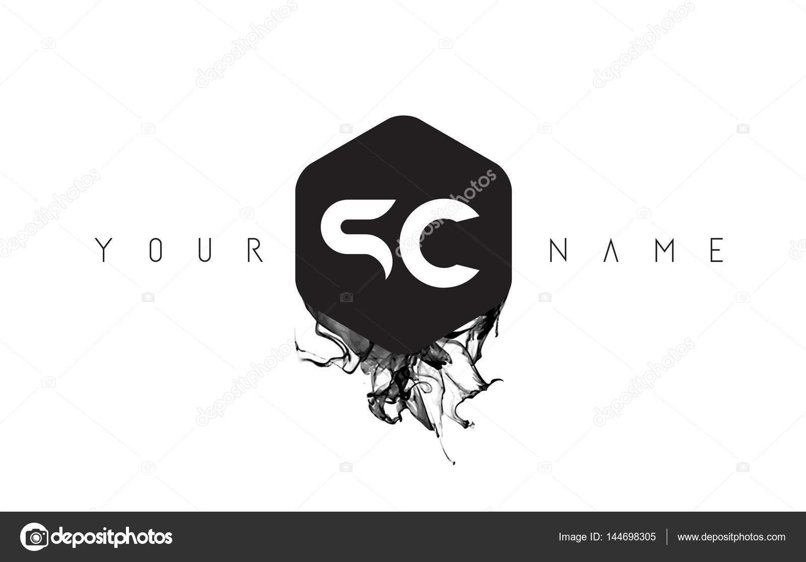 Sc Letter Logo Design Mit Schwarzer Tinte Spill