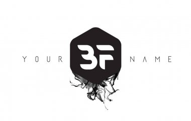 BF Letter Logo Design with Black Ink Spill