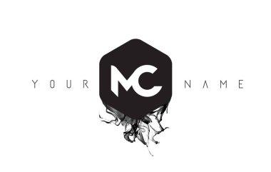 MC Letter Logo Design with Black Ink Spill