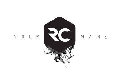 RC Letter Logo Design with Black Ink Spill