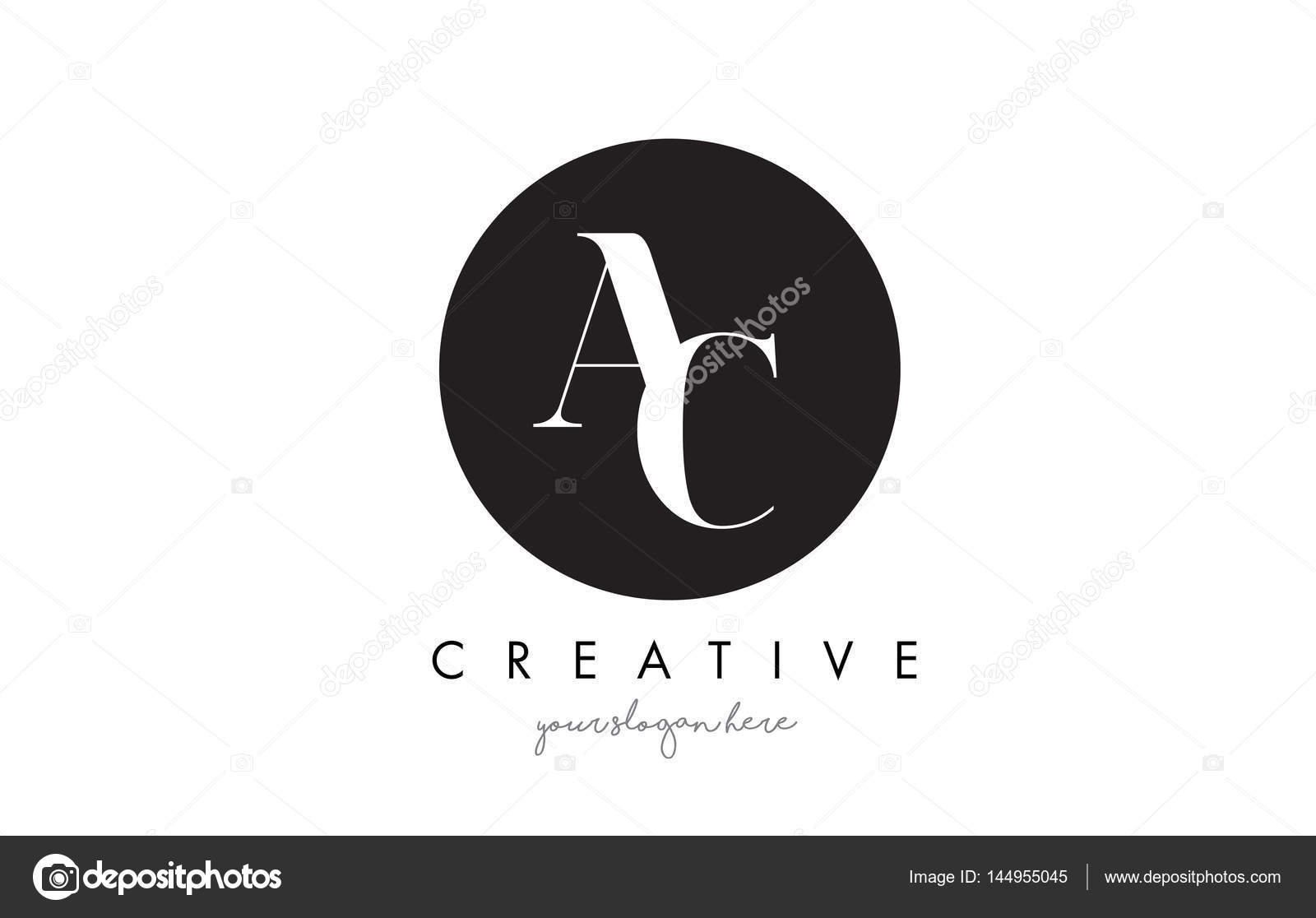AC Letter Logo Design with Black Circle and Serif Font. — Stock ...