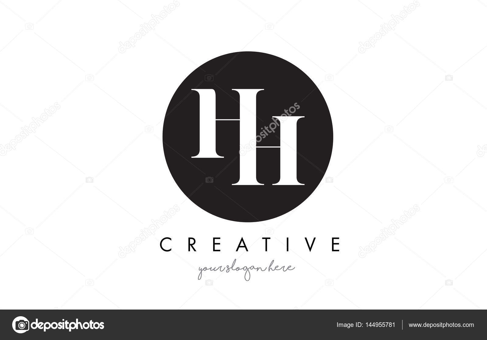 hh letter logo design with black circle and serif font stock