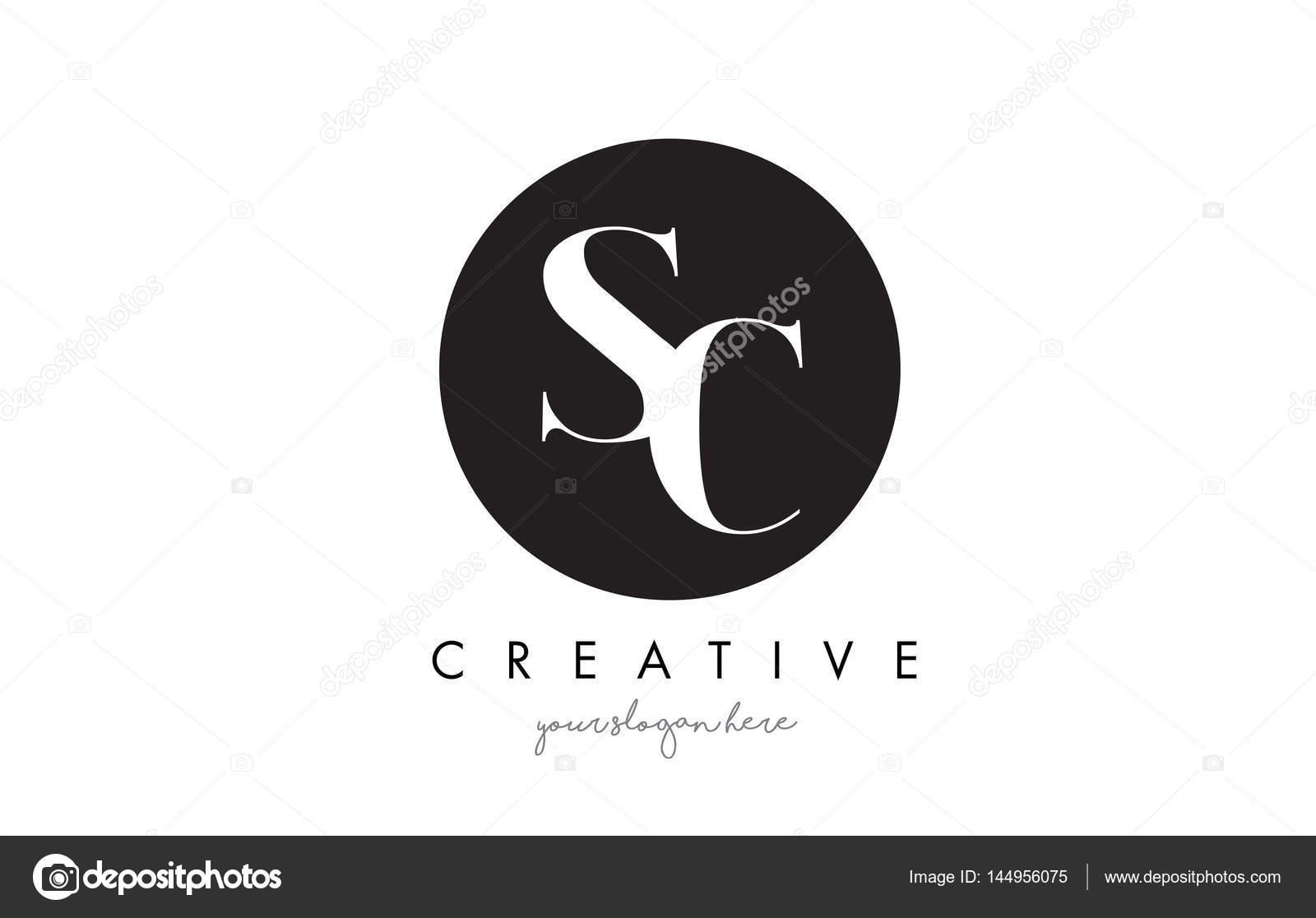 Sc Brief Logo Design Mit Schwarzer Kreis Und Serif