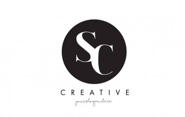 SC Letter Logo Design with Black Circle and Serif Font.