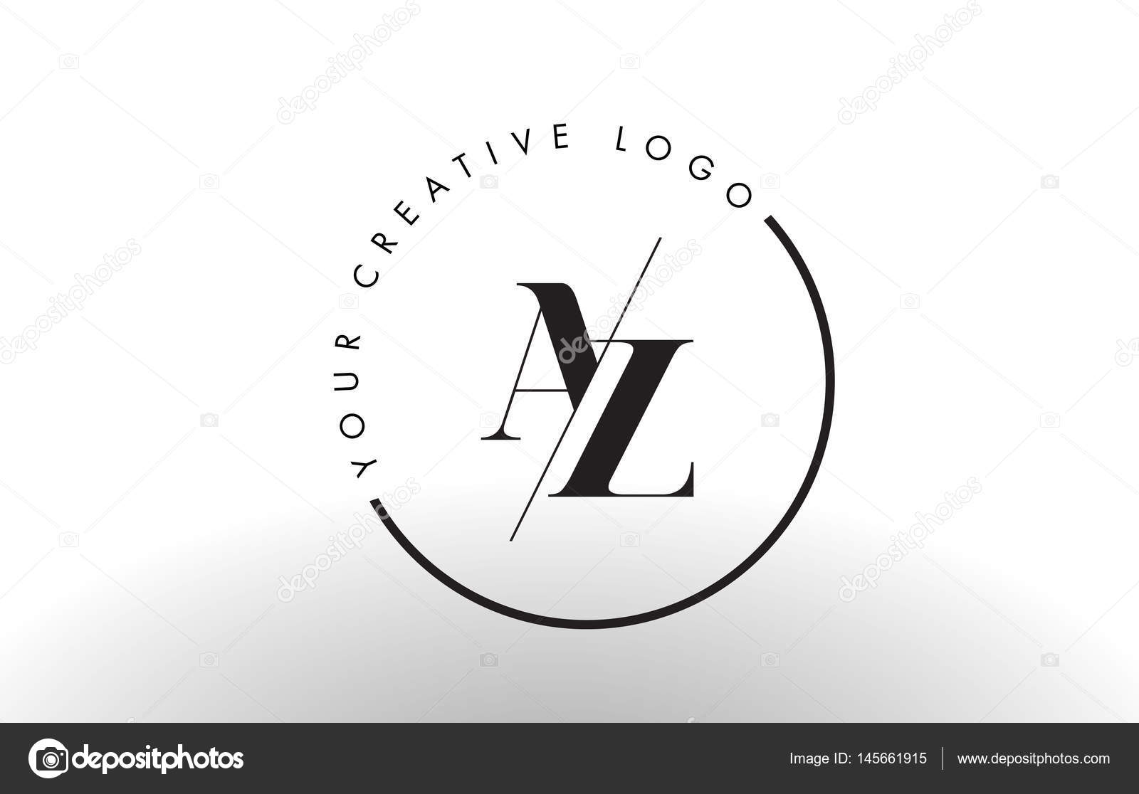 AZ Letter Logo Design With Creative Intersected And Cutted Serif Font Vector By Twindesigner