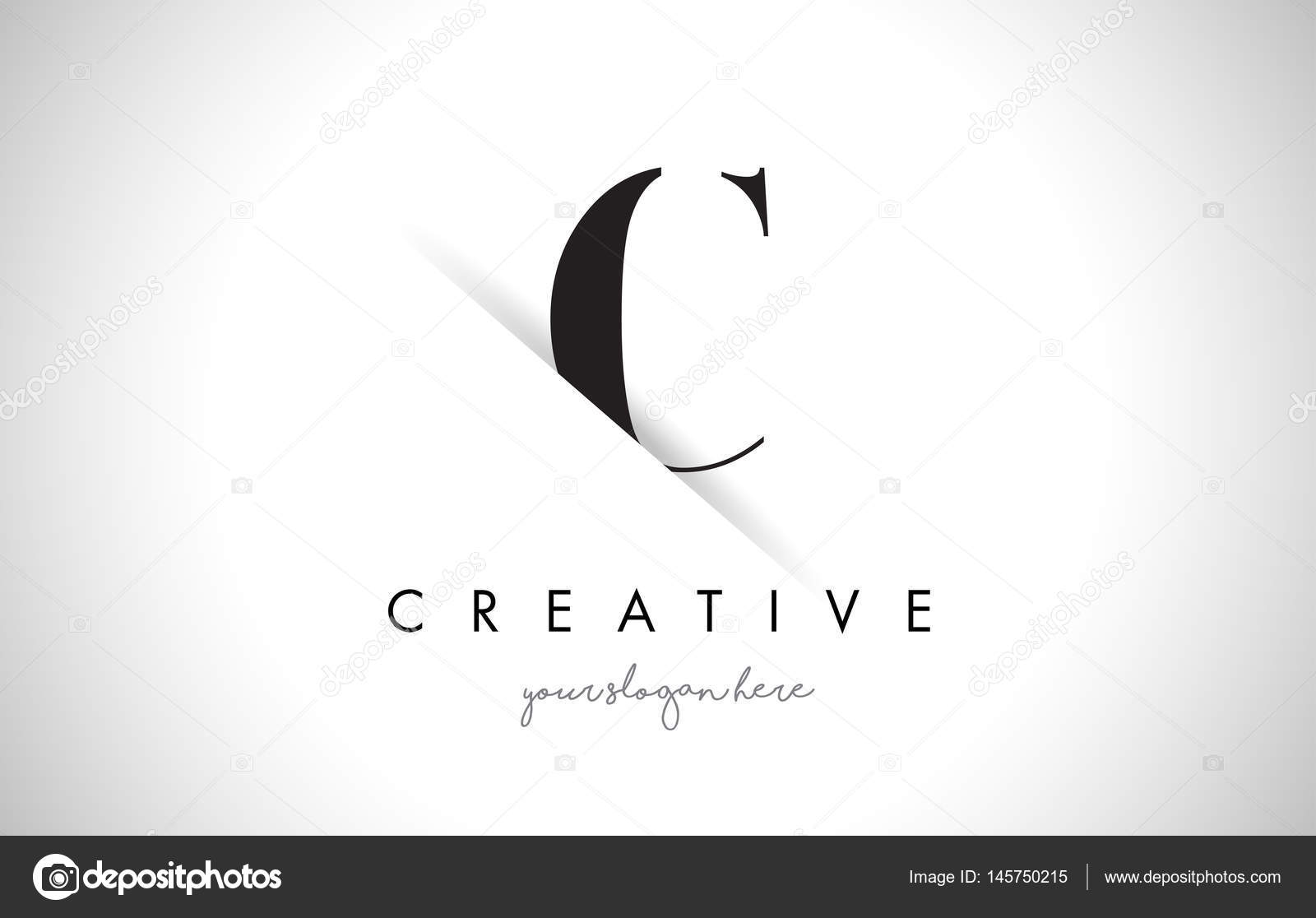 C Letter Logo Design With Creative Paper Cut And Serif Font Vector By Twindesigner