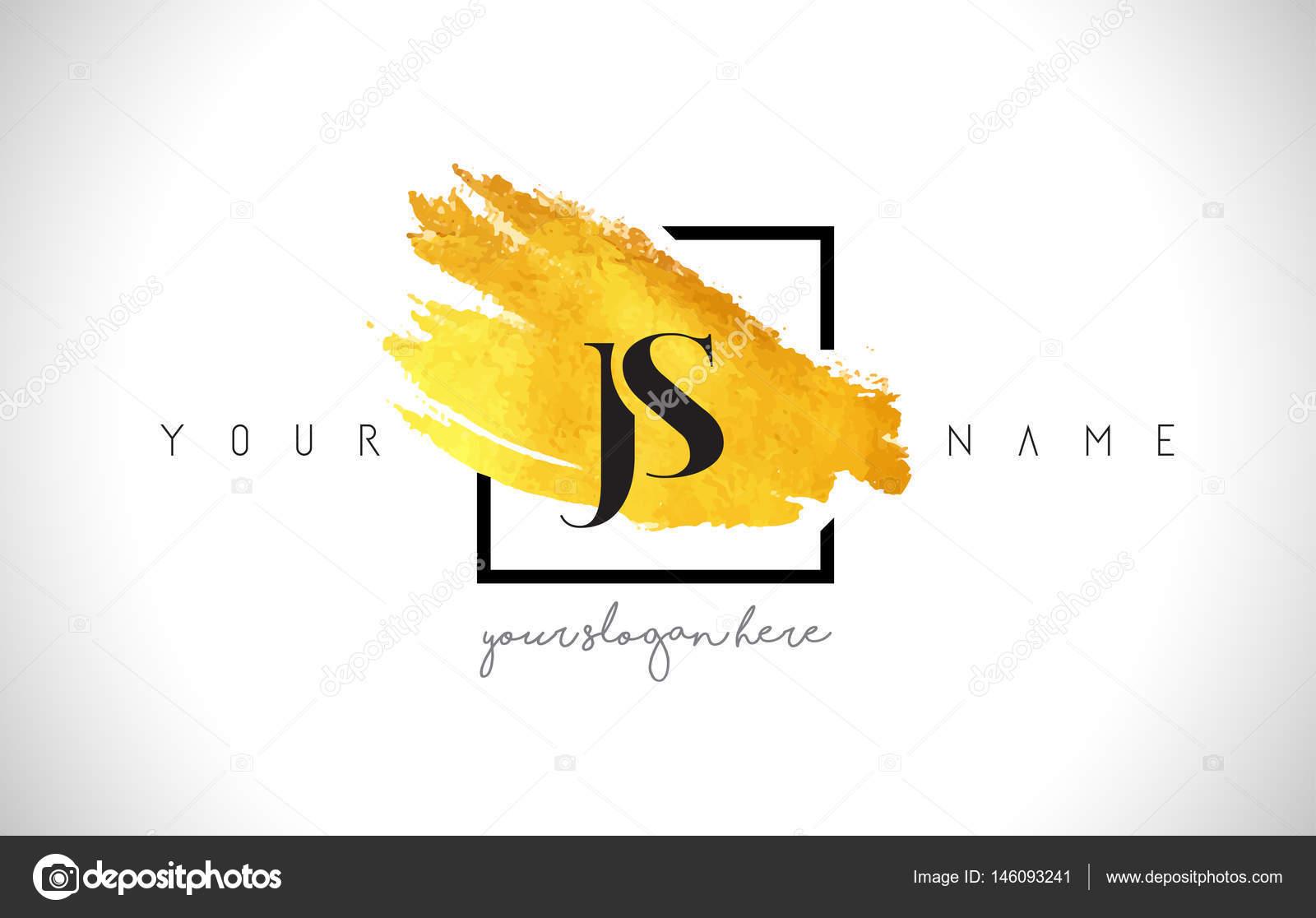 JS goldenen Buchstaben-Logo-Design mit kreativen Gold Pinselstrich ...