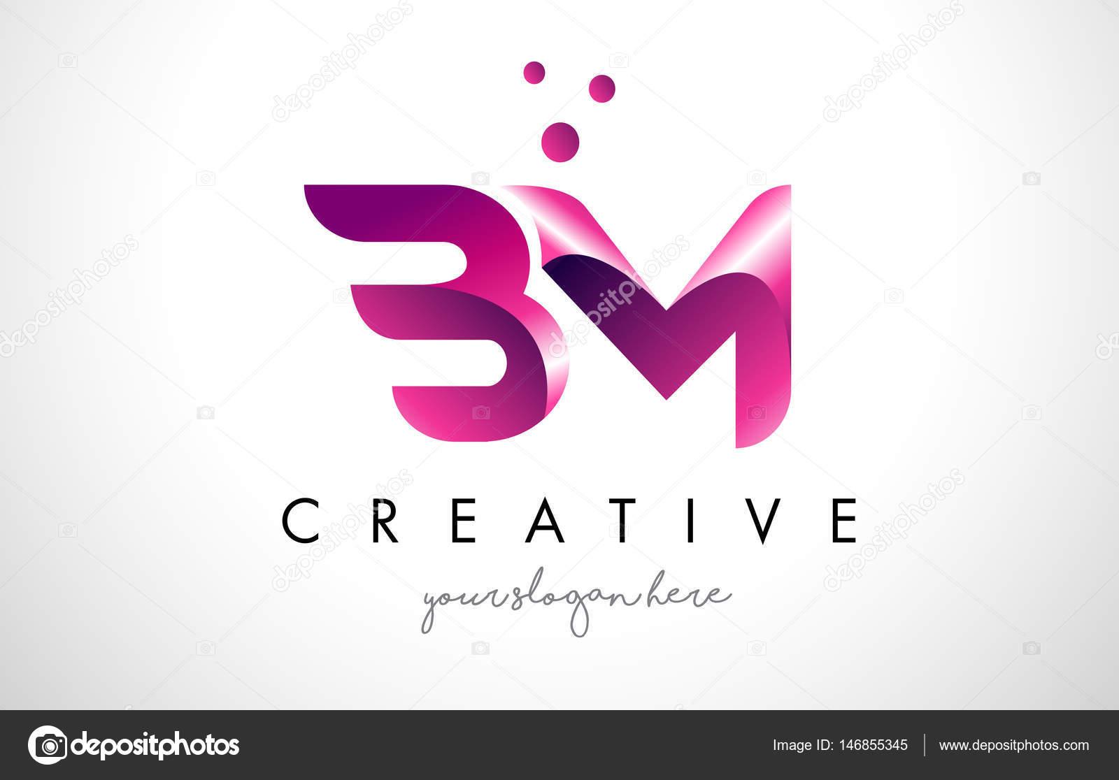 紫の色とドットで bm 文字ロゴ デザイン ストックベクター