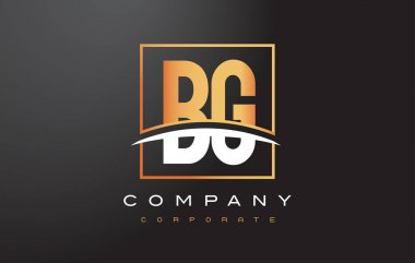 BG B G Golden Letter Logo Design with Gold Square and Swoosh.