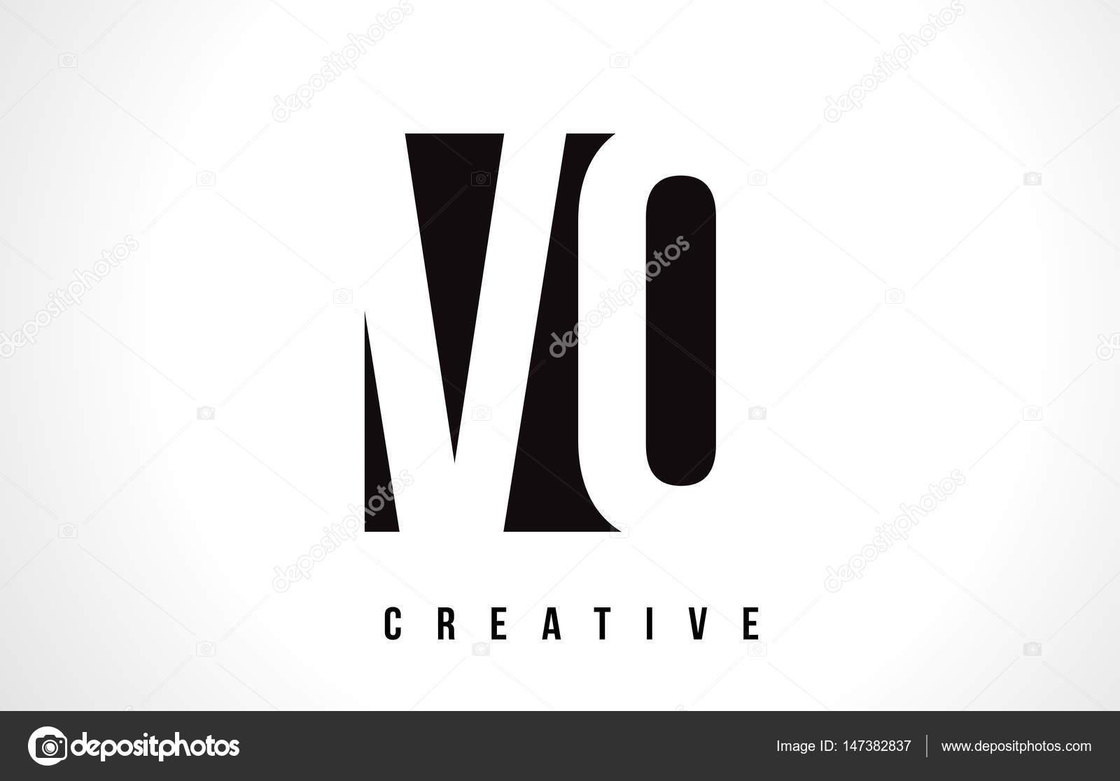 vo v o white letter logo design with black square stock vector
