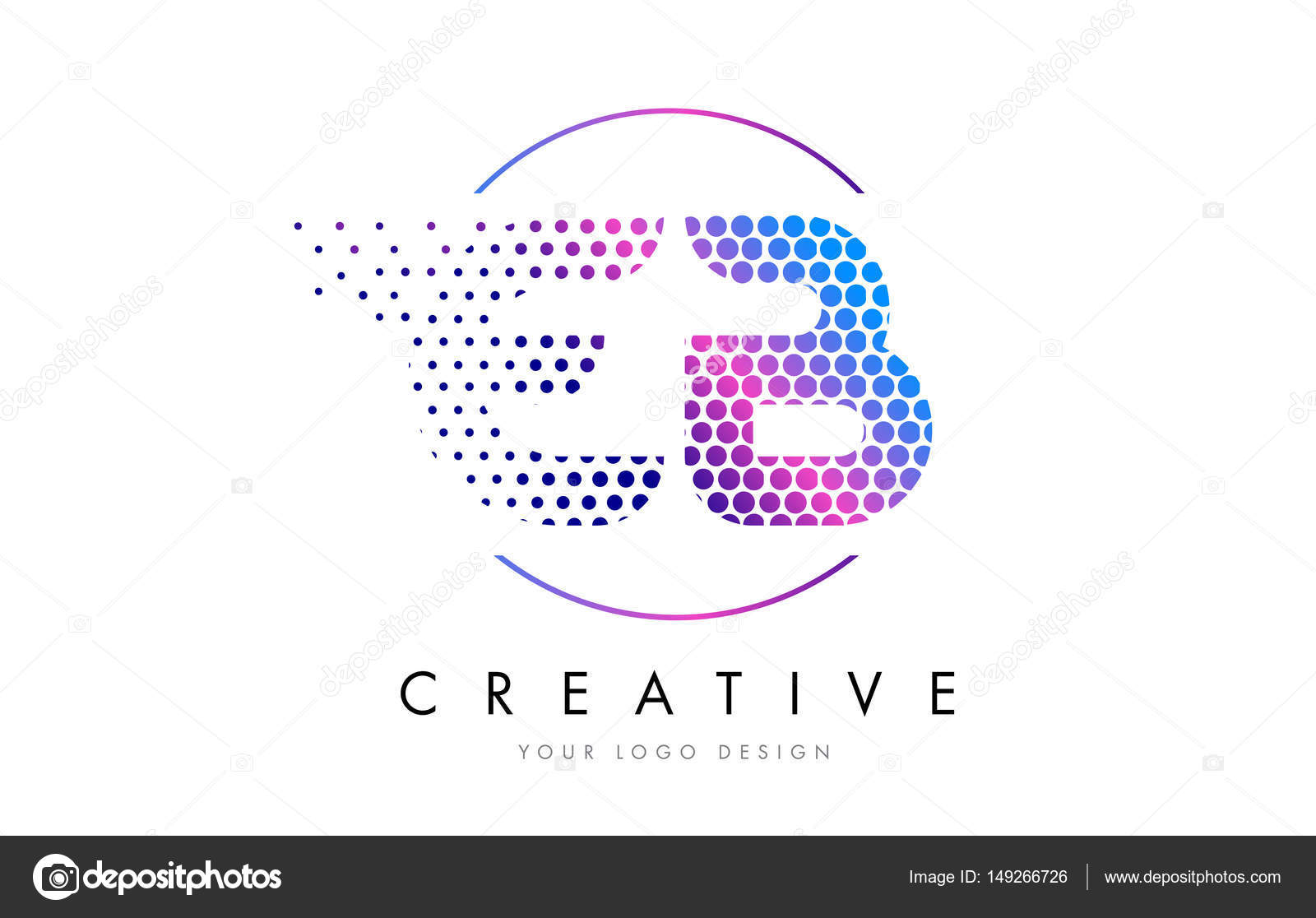 Eb E B Pink Magenta Dotted Bubble Letter Logo Design Vector  Stock
