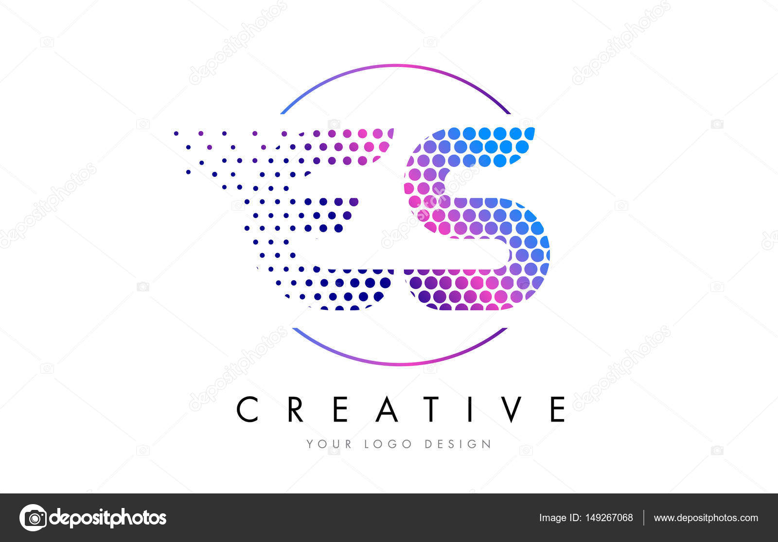 Es E S Pink Magenta Dotted Bubble Letter Logo Design Vector  Stock