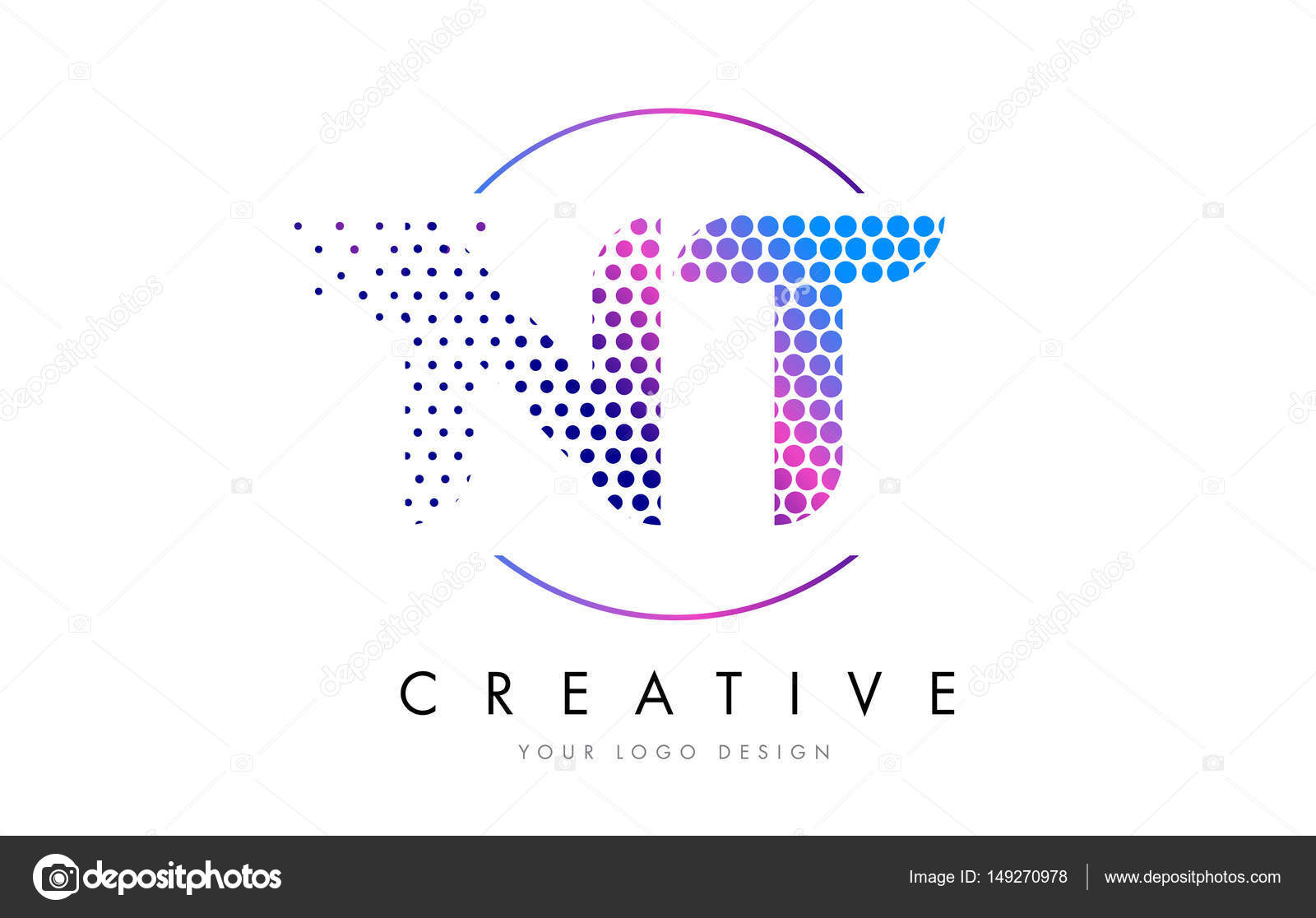 Nt N T Pink Magenta Dotted Bubble Letter Logo Design Vector  Stock