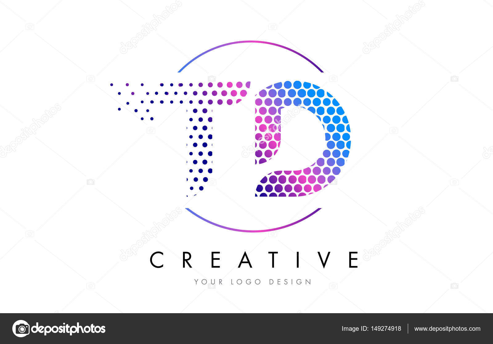 Td T D Pink Magenta Dotted Bubble Letter Logo Design Vector Stock