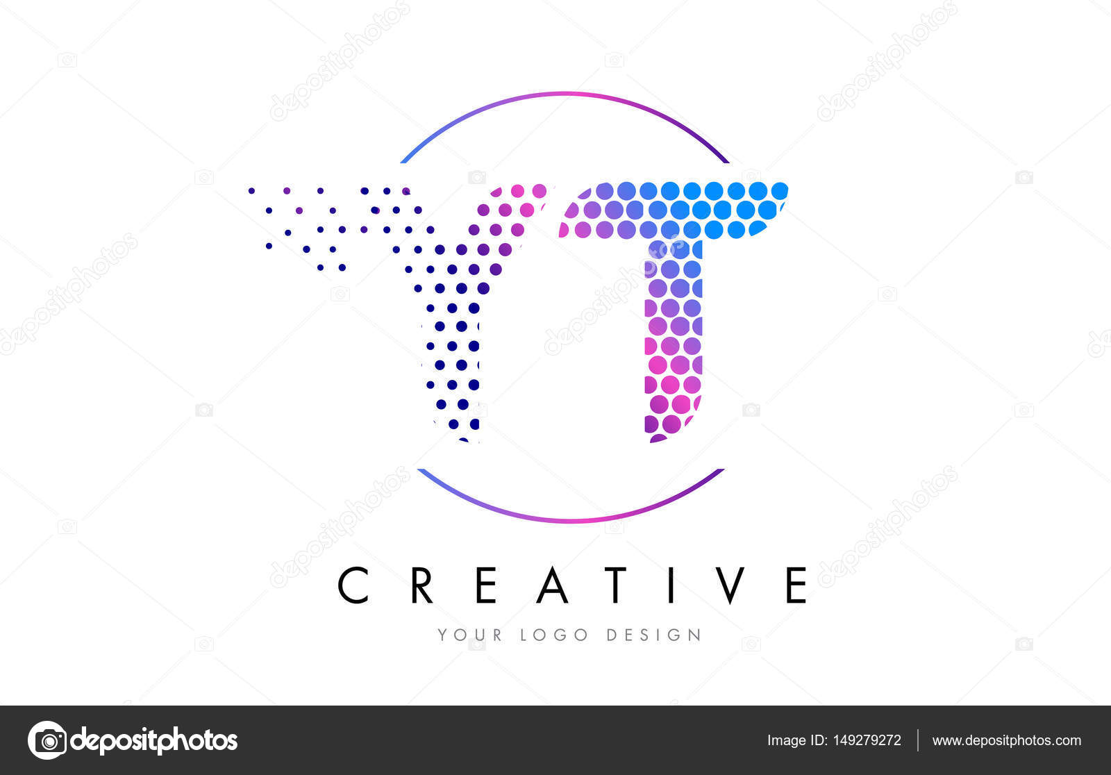 YT Y T Pink Magenta Dotted Bubble Letter Logo Design Vector Stock