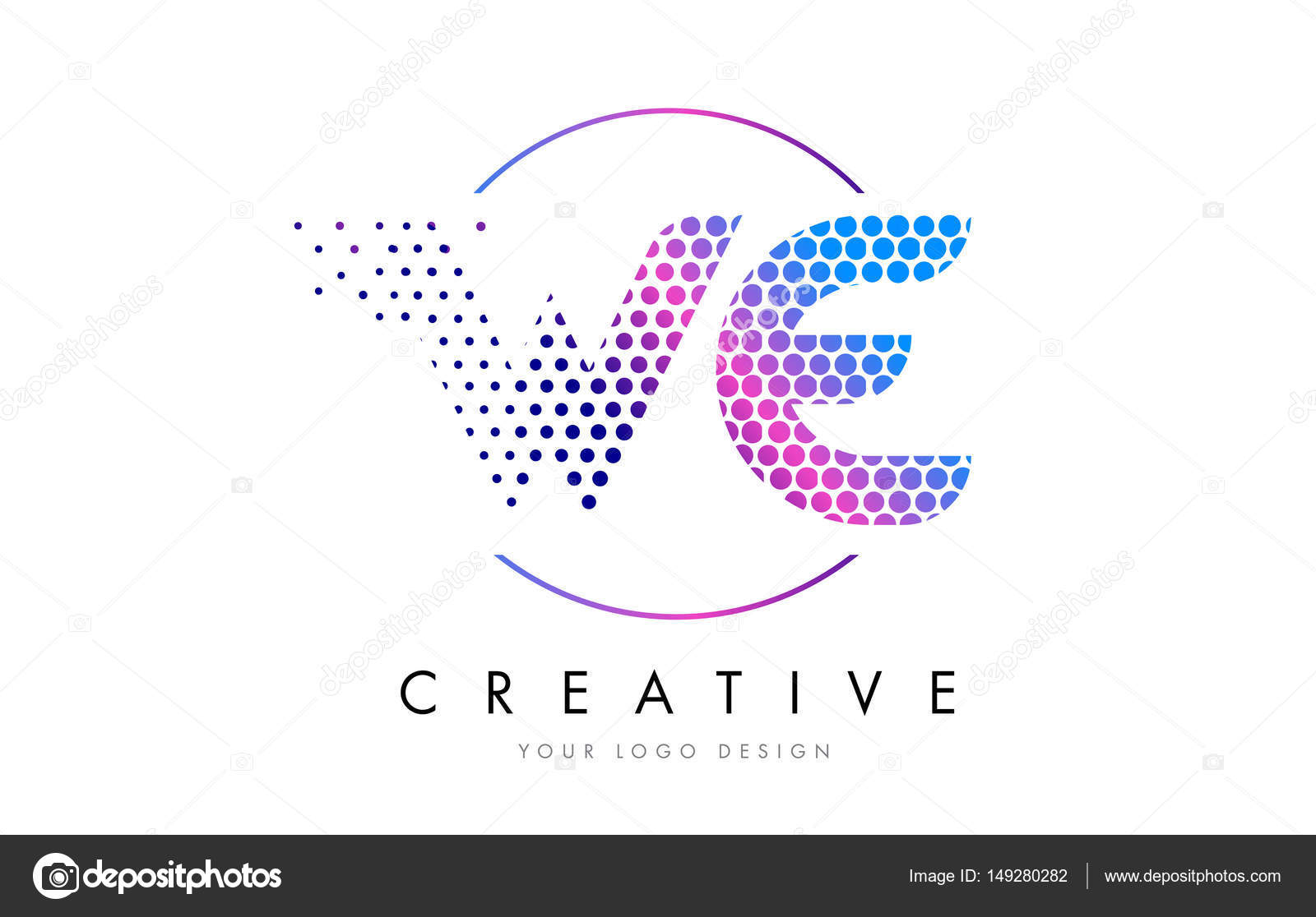 We W E Pink Magenta Dotted Bubble Letter Logo Design Vector  Stock