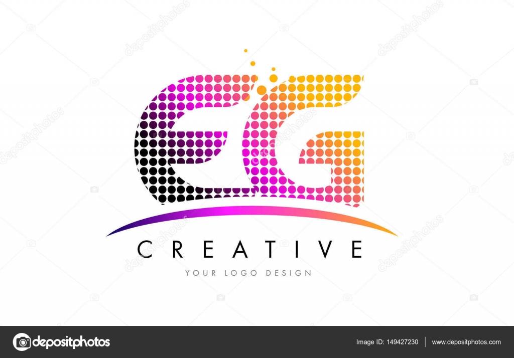 Exemple Logo par exemple, e g lettre logo design avec magenta dots et swoosh
