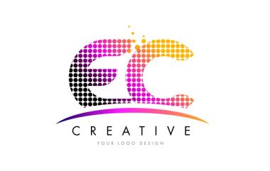 EC E C Letter Logo Design with Magenta Dots and Swoosh