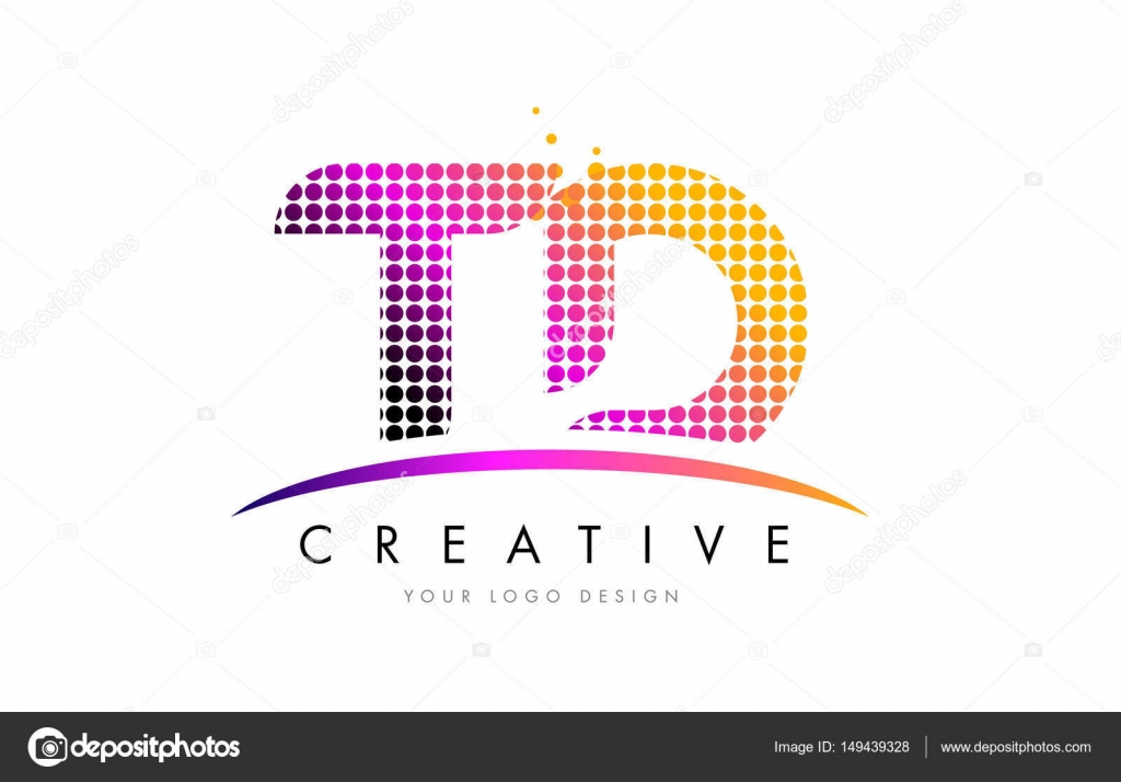 Td T D Letter Logo Design With Magenta Dots And Swoosh Stock