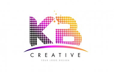 KB K B Letter Logo Design with Magenta Dots and Swoosh