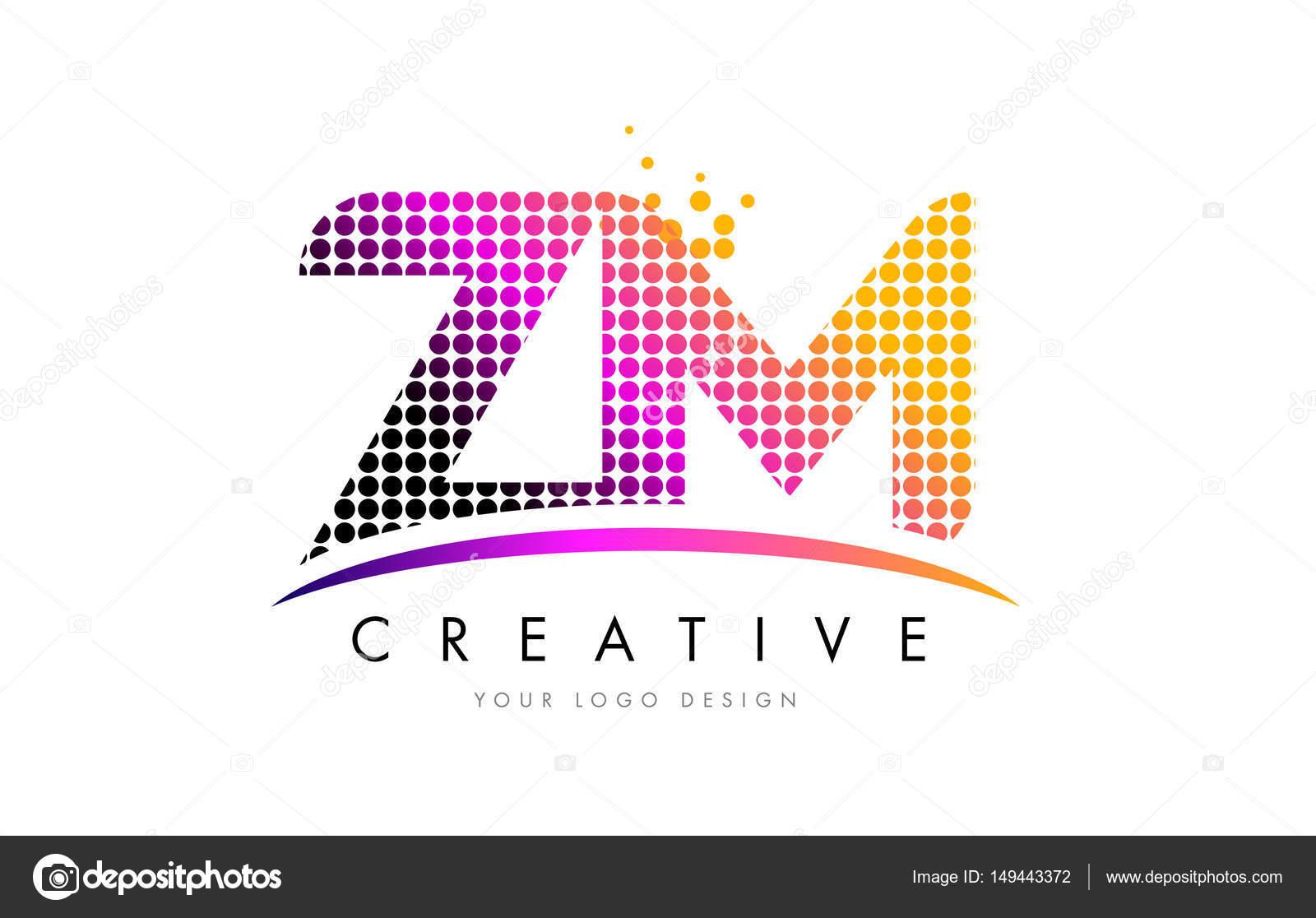 Projektowanie Logo Zm Z Litera M Z Karmazynowym Kropeczki I