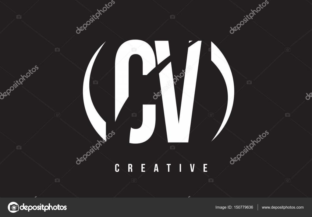cr u00e9ation de logo de lettre cv c v blanc avec fond noir  u2014 image vectorielle twindesigner  u00a9  150779636