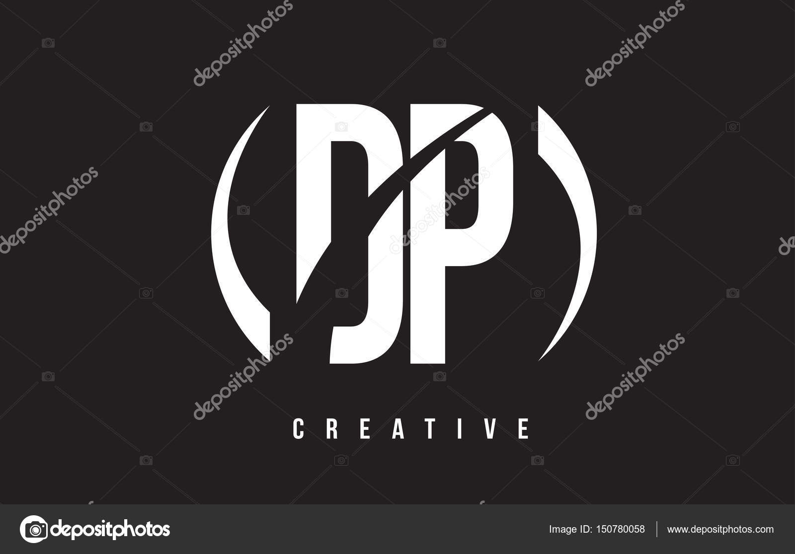 dp d p white letter logo design with black background. — stock
