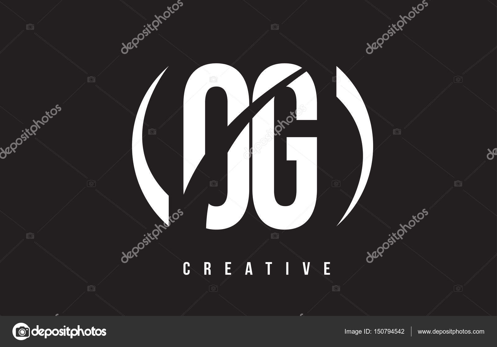 OG O G White Letter Logo Desig...