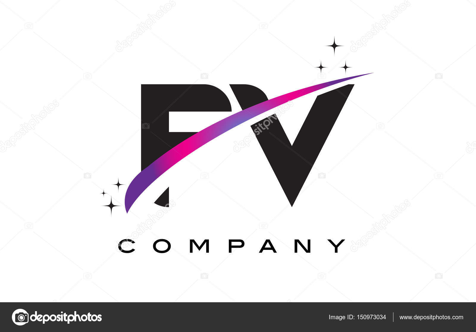 fv f v black letter logo design with purple magenta swoosh stock