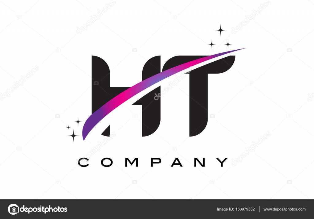 Ht H T Black Letter Logo Design With Purple Magenta Swoosh