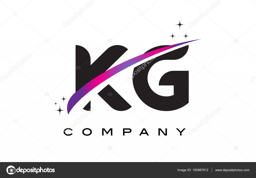 KG K G Black Letter Logo Design With Purple Magenta Swoosh Stock Vector