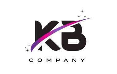 KB K B Black Letter Logo Design with Purple Magenta Swoosh