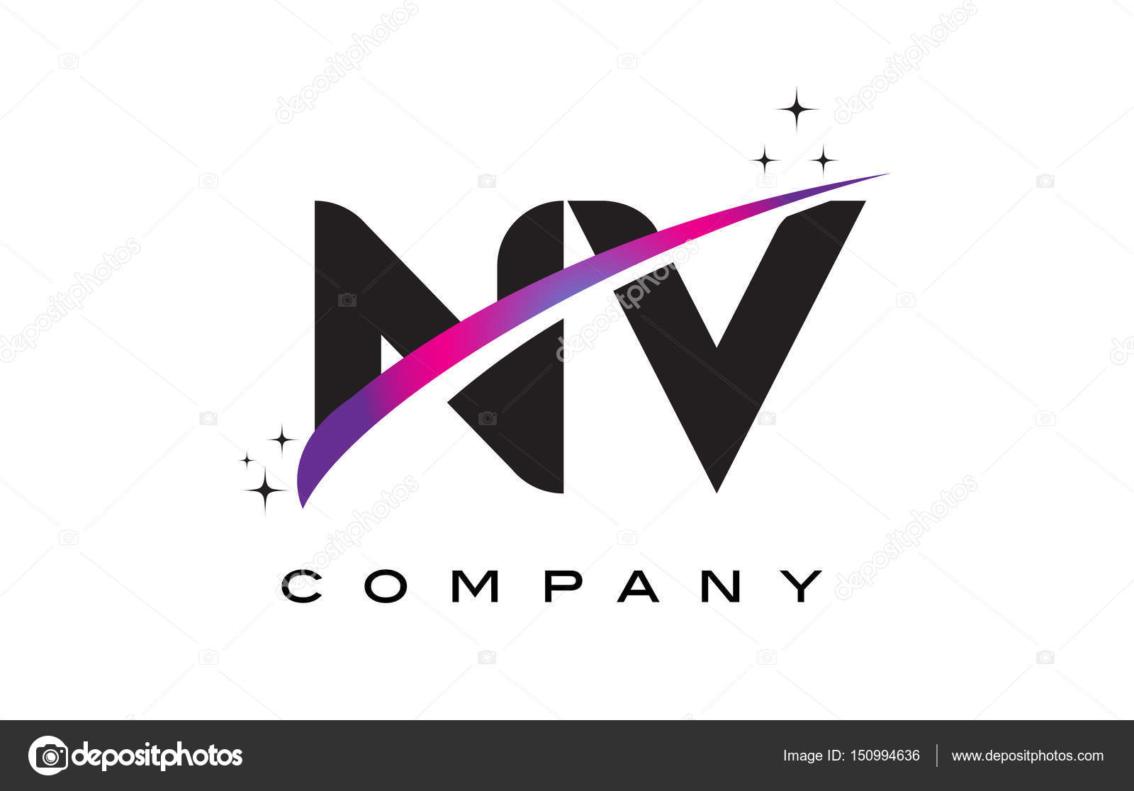 NV N V Black Letter Logo Design With Purple Magenta Swoosh Stock Vector
