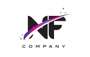 NF N F Black Letter Logo Design with Purple Magenta Swoosh