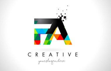 FA F A Letter Logo with Colorful Triangles Texture Design Vector