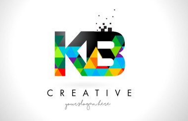 KB K B Letter Logo with Colorful Triangles Texture Design Vector