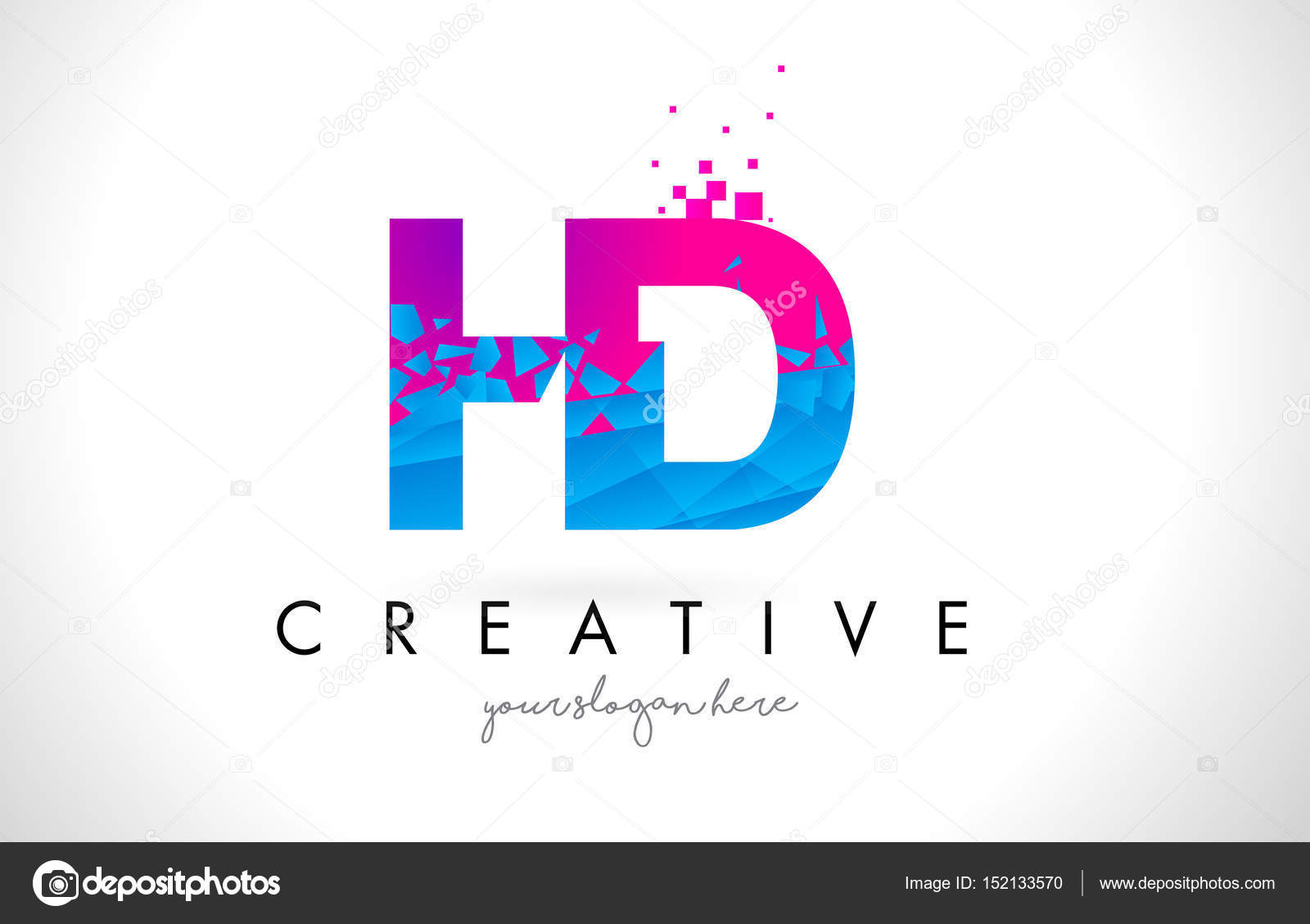 Hd h d letter logo with shattered broken blue pink texture desig hd h d letter logo with broken shattered blue pink triangles texture design vector illustration vector by twindesigner thecheapjerseys Gallery