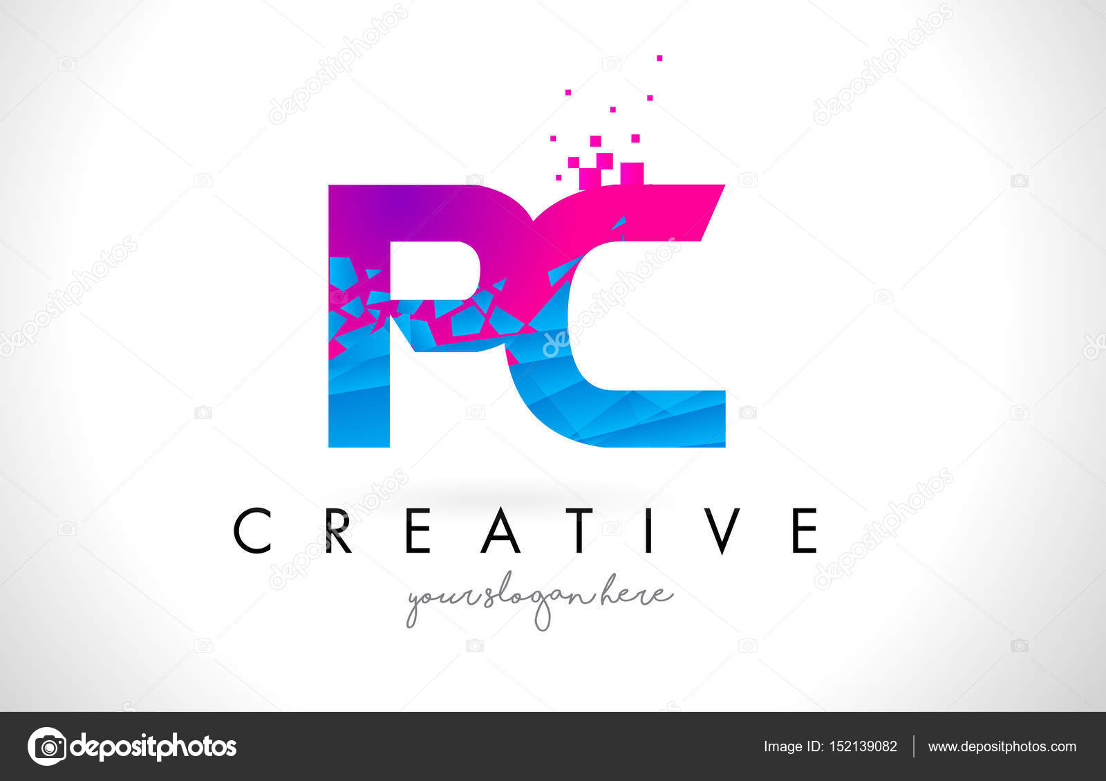 Pc p c letter logo with shattered broken blue pink texture desig pc p c letter logo with broken shattered blue pink triangles texture design vector illustration vector by twindesigner thecheapjerseys Gallery