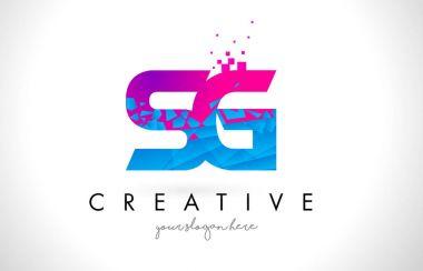 SG S G Letter Logo with Shattered Broken Blue Pink Texture Desig